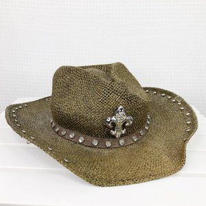 Peter Grimm Straw Cowboy Hat Rhinestones Cross Pin